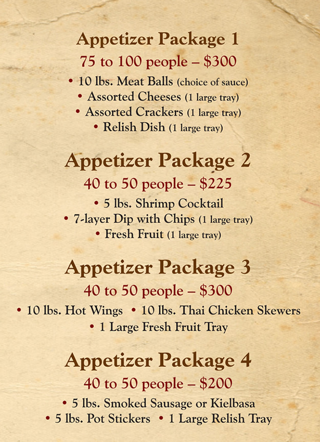 BBQ Catering Menu Appetizer Packages