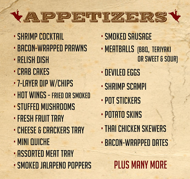 BBQ Catering Menu Appetizers List