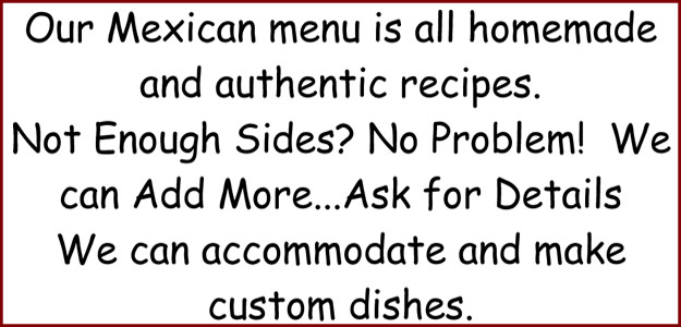 Bates Catering Mexican Menu Customization