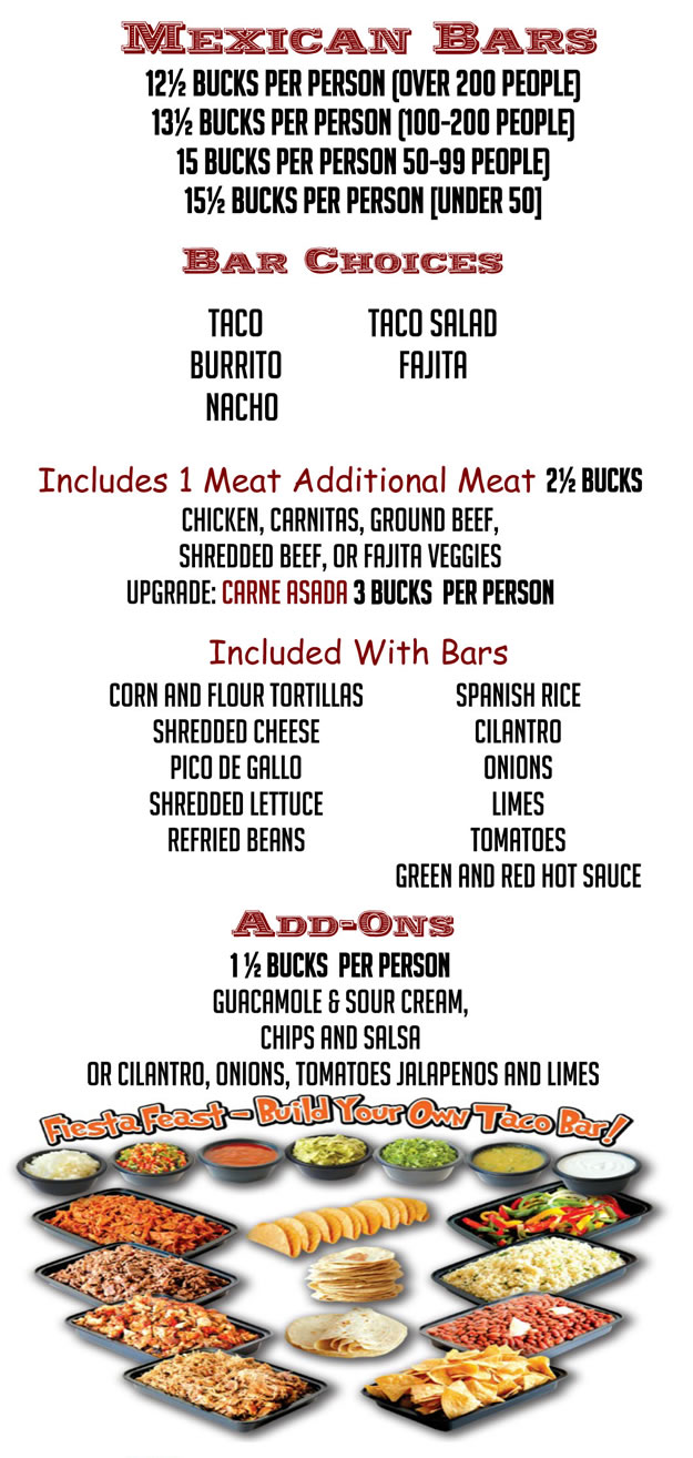Bates Catering Mexican Menu Mexican Bars
