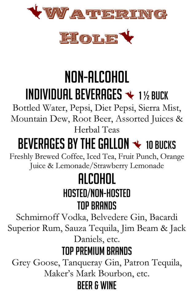 Bates Catering Mexican Menu Beverages