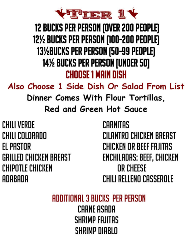 Bates Catering Mexican Menu Tier 1